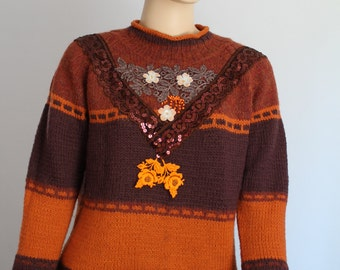 sale Orange Brown  Upcycled Shabby Chic Boho Gypsy Wool Sweater - 3/4 Sleeves Size L/XL/ XXL