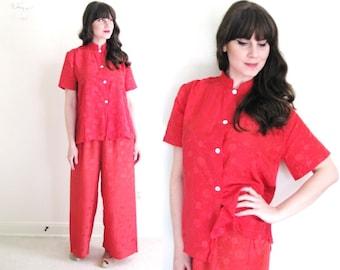 40s Pajamas / 1940s Lounge Set / 1940s Red Pajamas