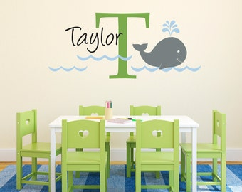 Kid Name Decal with Initial & Whale - Unisex Wall Decal - Whale Wall Art - Large