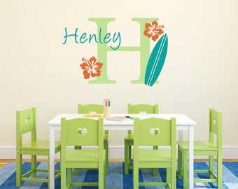 Initial & Name Wall Decal with Surfboard and Hibiscus Flowers - Hawaiian Wall Decal - Surfboard Decal - Medium