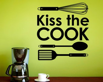 Kiss the Cook Decal - Whisk Spoon Flipper - Kitchen Wall Decor - Large