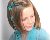 Butterfly Barrette  Blue Butterflies and woven black and blue  ribbons for hair accessory