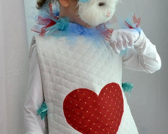 White Rabbit Costume from Alice and Wonderland, Rabbit Costume for Easter, Child Spring costume, girls spring celebration  Halloween Costume