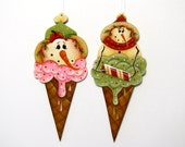 Snowman in Pink or Green Ice Cream Cone Ornament, Handpainted Wood