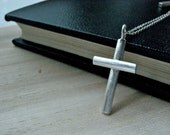 Rustic cross necklace silver artisan jewelry - unique handmade sterling silver jewelry in unisex style - One of a kind jewelry