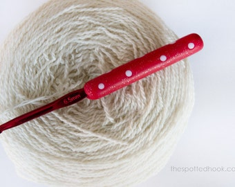 6.5mm Crochet Hook, Red polymer clay handle with White Polka dots, made to order, 2 colours to choose from