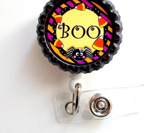 Boo! - Name Badge Holder - ID Badge Reel -  Nursing Badge - Teacher  Badge - Nurses Badge - Halloween Badge - RN Badge - PICU  - Nurse Gift