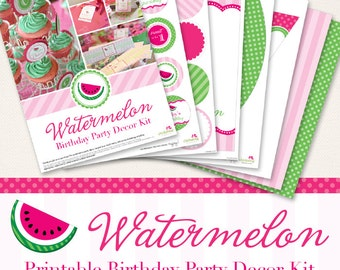 Watermelon birthday party printable decor kit - Over 45 pages of gorgeous personalized printables