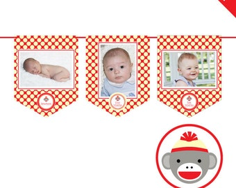 INSTANT DOWNLOAD Sock Monkey Party - DIY printable photo banner kit