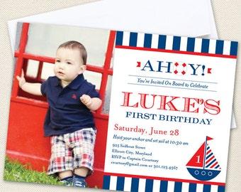 Nautical Party Photo Invitations - Professionally printed *or* DIY printable