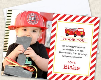 Fire Truck Photo Thank You Cards - Professionally printed *or* DIY printable