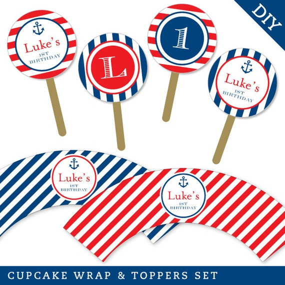 Nautical Party - Personalized DIY printable cupcake wrapper and topper set