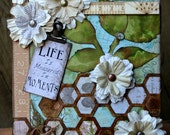 Mixed Media Assemblage Wall Art, Original Mixed Media Floral Canvas, Inspirational Altered Art Home Decor, Life Is Measured In Moments Quote