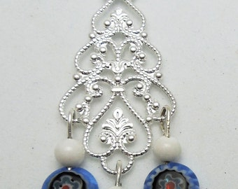 Blue Melifiore Glass Beads on Chandelier Earrings + Pendant all Sterling Silver