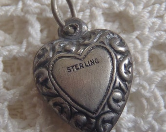 Vintage Charm Sterling Puffy Heart