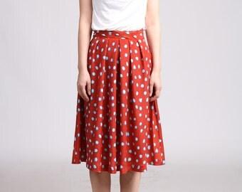 Polka Dot Full Skirt, Silky Midi Skirt, Pleated Skirt, Circle Skirt, Red Skirt,  Bridesmaid Skirt, Aline Skirt, Silky Skirt - Blue and Red