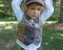 Little boys vest, Christmas vest, vintage look vest, kids photo prop, Wedding vest, Boys Wedding outfit, recycled suit vest, Boys wool vest