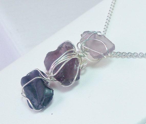 RARE Purple Beach Glass Pendant, Triple Beach Glass Pendant, Argentium Sterling Silver Wire Wrapped, Great Lakes Beach Glass