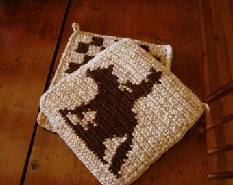 Reining Horse Potholders, Cowbow Potholders, Western, Rodeo Potholders - Horse Pot Holders - Horse Hot Pad - Kitchen - Crochet MADE TO ORDER