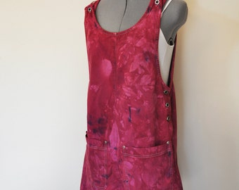Red Small Bib OVERALL Shorts  - Hand Dyed Wine Red Real Comfort Cotton Overalls Shorts - Adult Womens Size Small (38 waist)
