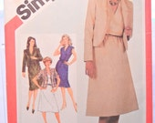 Pullover Dress and Lined Jacket Pattern, Formal Office Wear, Uncut Factory Folds, Simplicity 5435, Misses Size 10