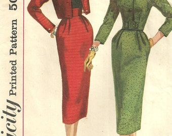 Simplicity 2134 / Vintage 50s Sewing Pattern / Skirt Jacket Suit / Size 14 Bust 34
