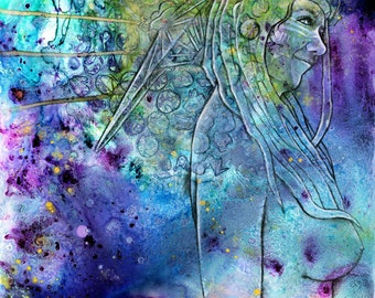 """Large format Print of 2014 goddess painting """"cosmic critter"""" by Emily Kell"""