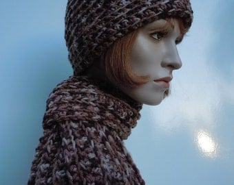 Brown Hat and Scarf Set, Crocheted Hat and Scarf, Womens Hat and Scarf