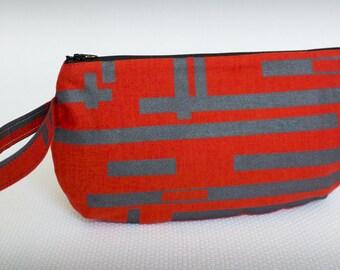 Red Gray Wristlet Clutch Handbag Purse - Screenprinted Original Fabric  - Small Bag - Stripes