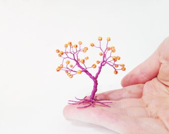 purple orange beads wire art tree wire tree sculpture minimalistic home decor whimsical wire tree statue hostess gift for mom under 25