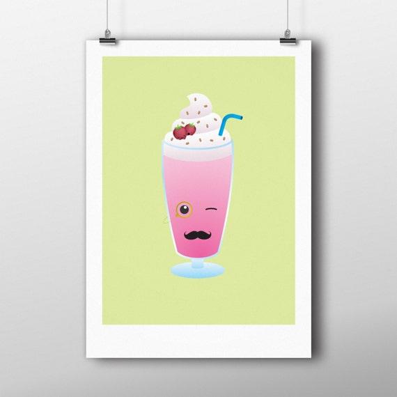 Milkshake print, pastel wall decor, spring summer illustration, childrens wall art