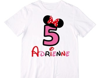 Personalized Red, Pink, & Black Mouse Ears Birthday Shirt or Bodysuit - Personalized with ANY Name and Age