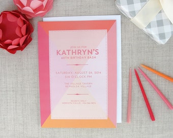 Color Block Invitations | Birthday Party | Wedding Shower | Set of 10 Custom Invitations | Engagement Party