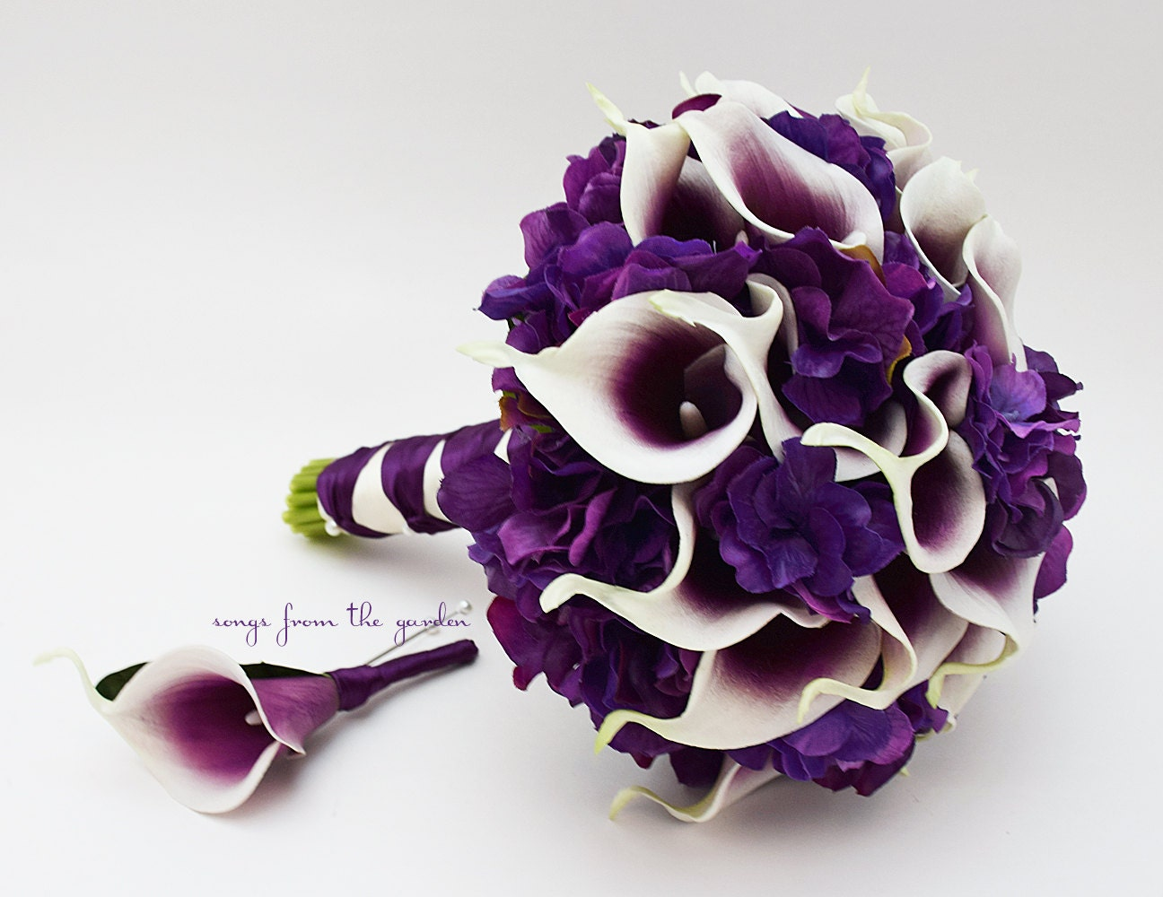 purple calla lily wedding bouquets real touch picasso calla purple hydrangea bridal bouquet 6885