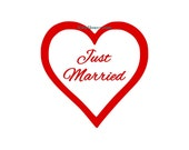 Just Married Heart  - Car Decal - Vinyl Car Decals, Window Decal, Signage, Wall Decal, Just Married Decal, Wedding Gift