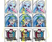 Monster High inspired 1 inch square image sheet, 15 images, scrabble size