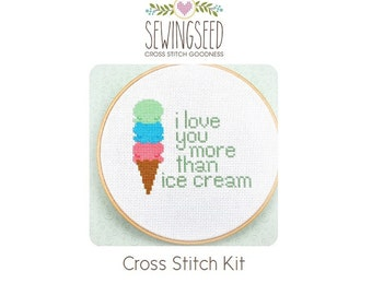 Cross Stitch Kit, I Love You more than Ice Cream, Embroidery Kit, DIYer Gift