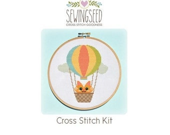 Hot Air Balloon with Orange Kitty Cat Cross Stitch Kit, DIY Embroidery Kit, Adventure, Nursery