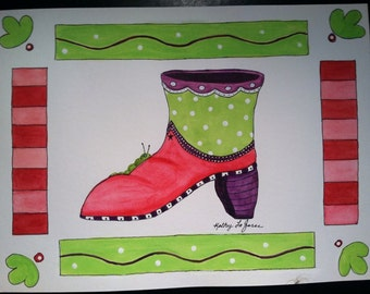"""SALE! Original watercolor """"Funky Boot Series"""" This Pink and green Boot with purple trim has a little catapiller tagging along."""