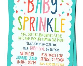 Baby Sprinkle Invitation, Baby Girl Sprinkle Invitation, Baby Boy Sprinkle Invitation, Gender Neutral Baby Sprinkle, Colorful Baby Sprinkle
