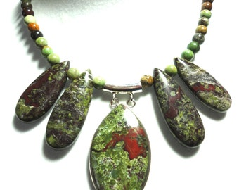 Dragon Skin Jasper Necklace Dragon Blood Jasper Cleopatra Statement Necklace with Sterling