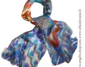Hand painted Silk scarf - Peacock