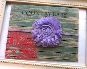 Lavender Shabby Rose Headband...Purple Baby Girl Headband...Lilac Headband...Large Shabby Rose Headband...Purple Toddler Headband
