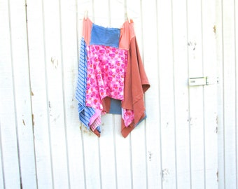 Lagenlook Spring / Summer Romantic Upcycled Clothing Skirt / Funky Clothes / Eco Skirt by CreoleSha