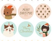 "50% OFF Set of 30 - You Keep Me Warm and Twinkle Bear Christmas Stickers - Envelope Seals - Gift Seals - 1.5"" Round Holiday Stickers"