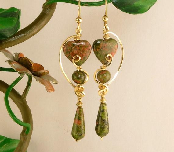 Unakite Heart Earrings Long Dangle Olive Green Gold Filled Wire Earrings