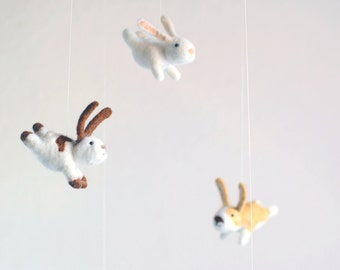 Bunny mobile - nursery mobile - baby mobile - crib mobile - animal mobile