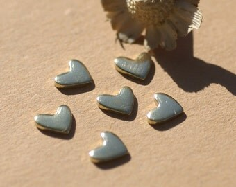 Brass Tiny Lopsided Heart 7mm x 6mm 20g Metal Blanks Shape Form for Enameling Stamping Texturing Blank  6 pieces