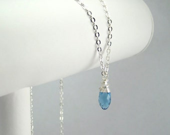March Birthstone Necklace Sterling Silver Option Personalization Available