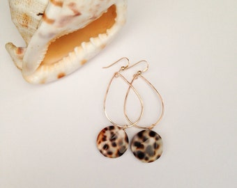 Hawaii Tiger Cowrie Or Mother of Pearl Bead Earring Gold or Silver